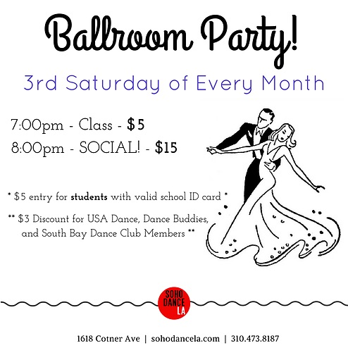 Ballroom Party every 3rd Saturday of the month