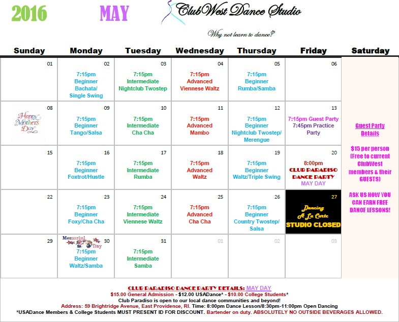 MAY 2016 CALENDAR NOW AVAILABLE