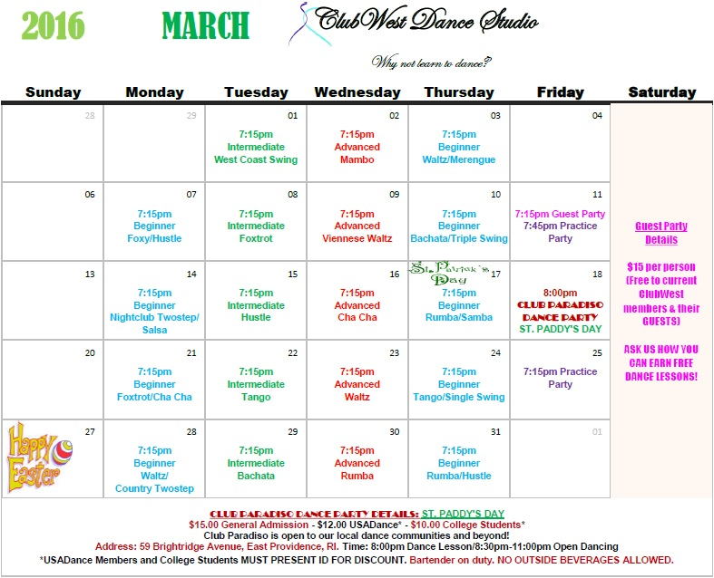MARCH 2016 CALENDAR NOW AVAILABLE