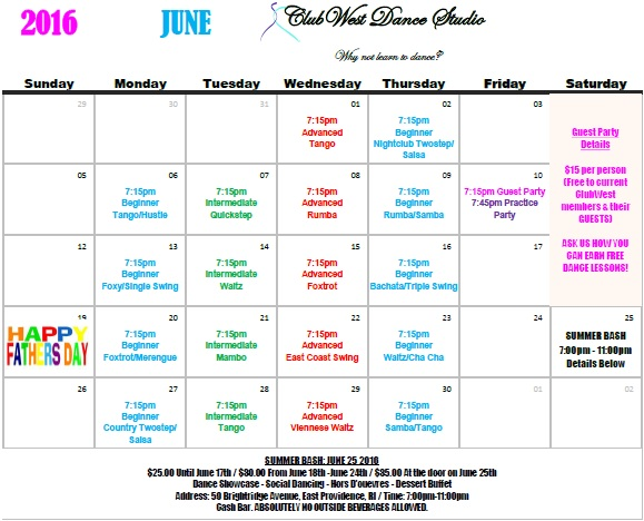 JUNE 2016 CALENDAR NOW AVAILABLE