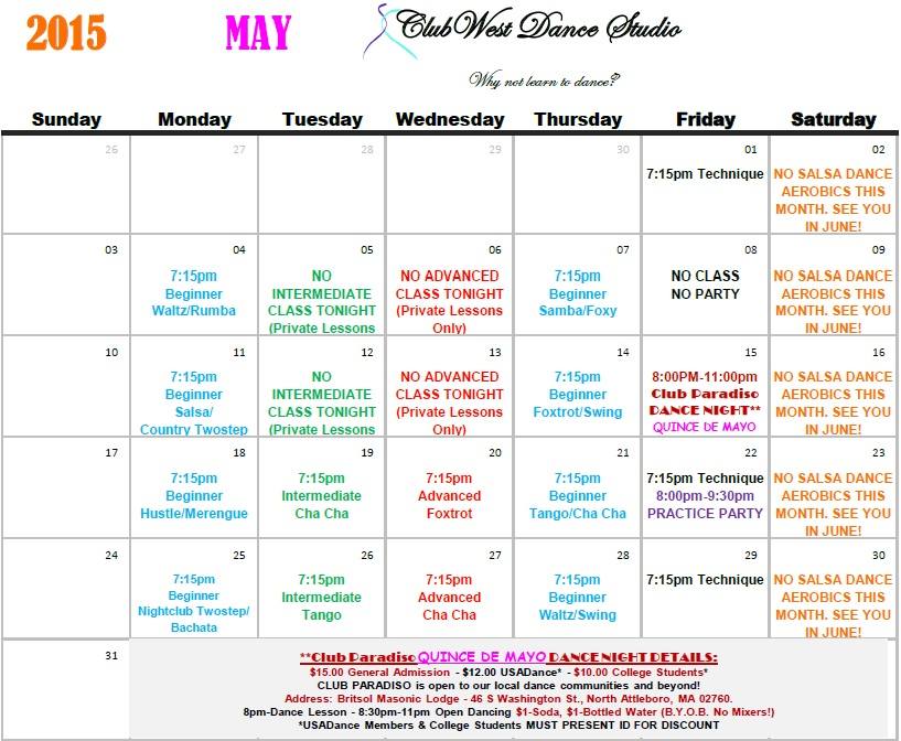 May 2015 Calendar Now Available