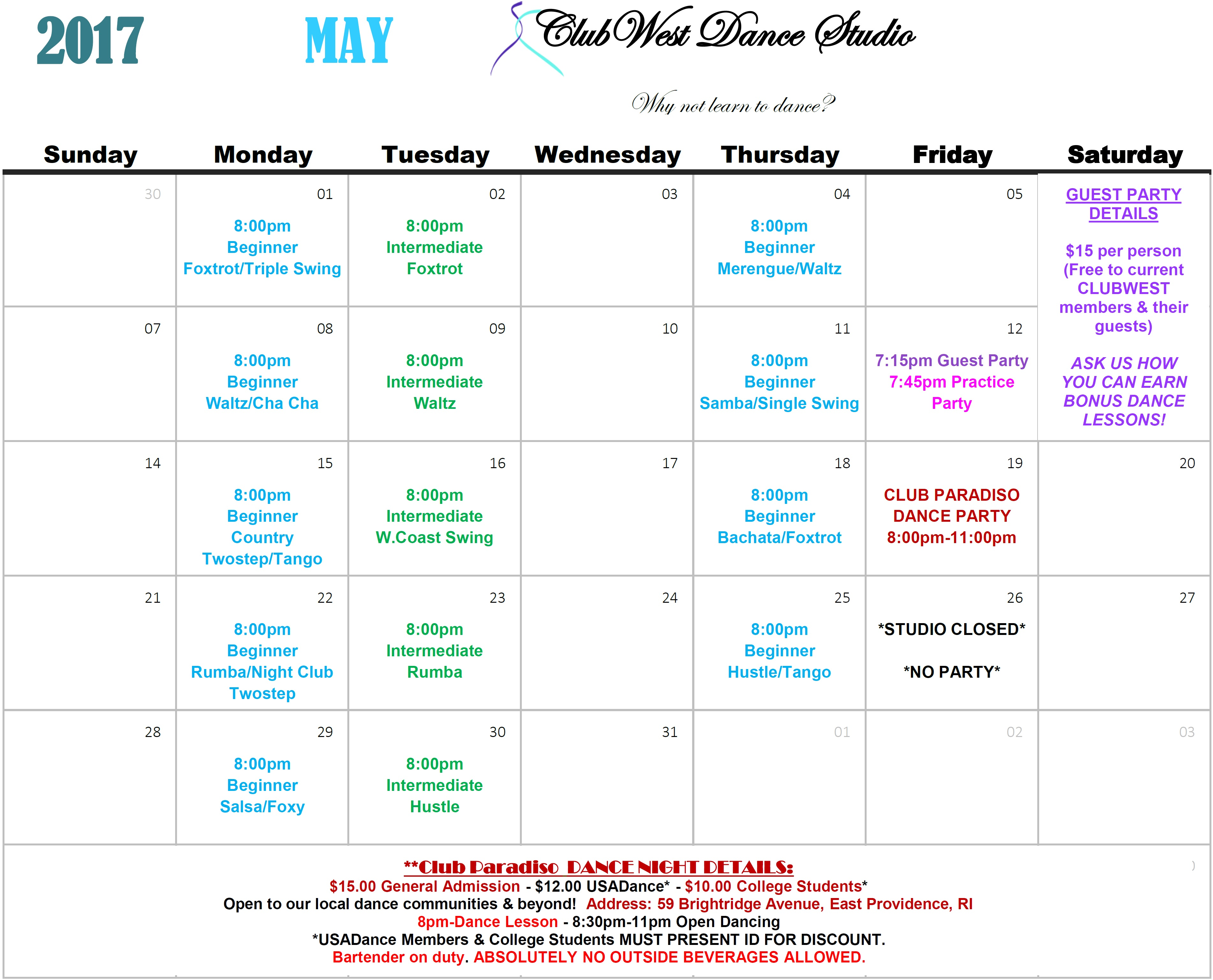 MAY 2017 CALENDAR NOW AVAILABLE