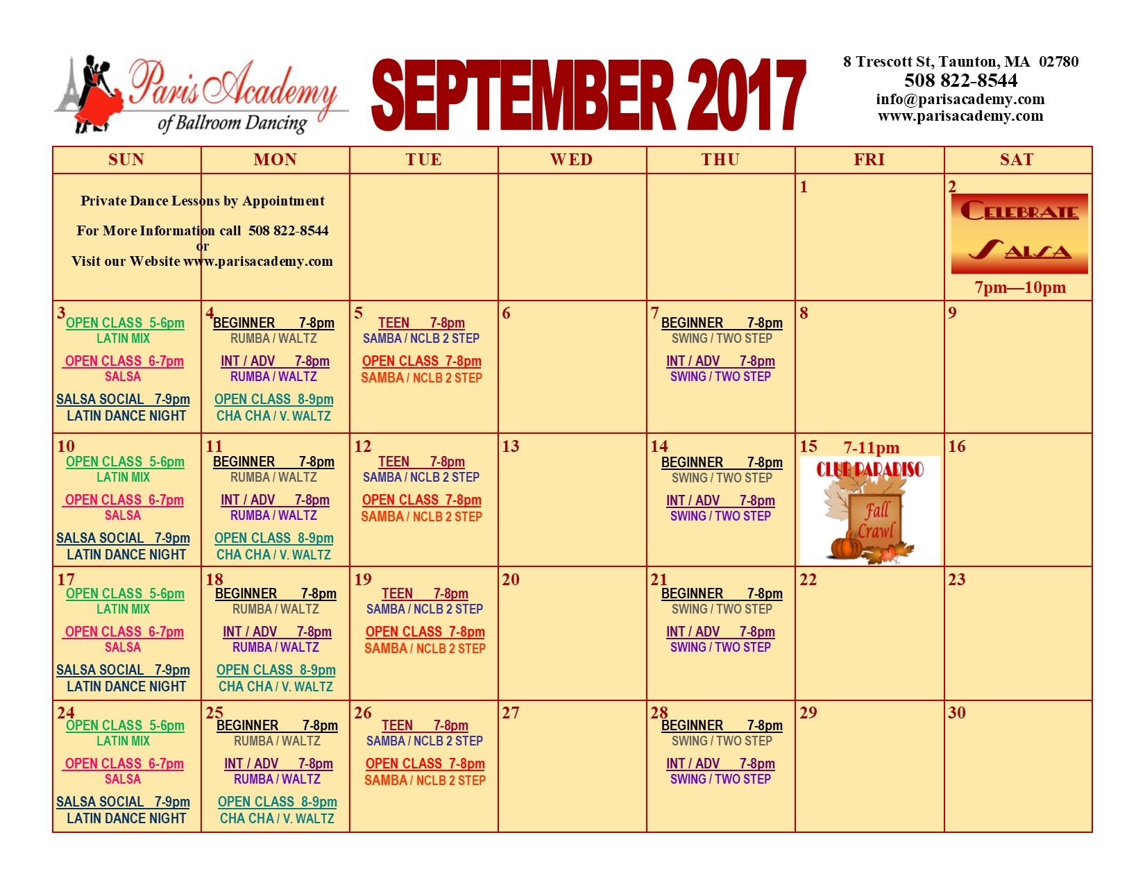September 2017 Calendar
