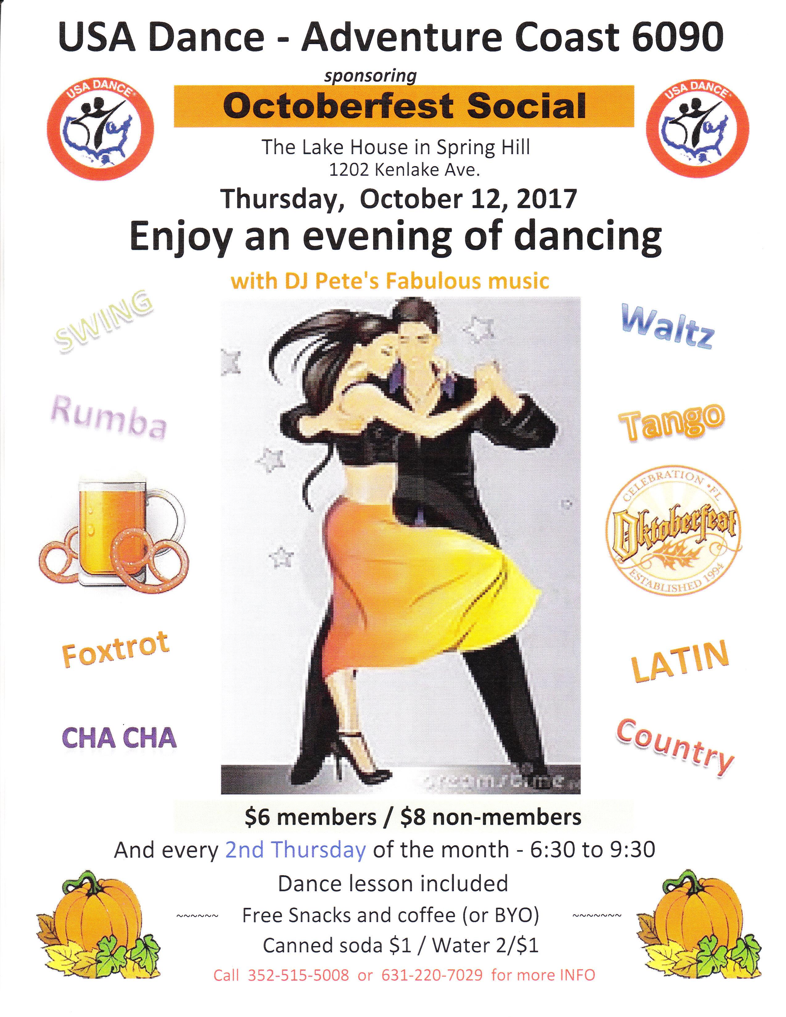 2017 October 12th Octoberfest Dance Social