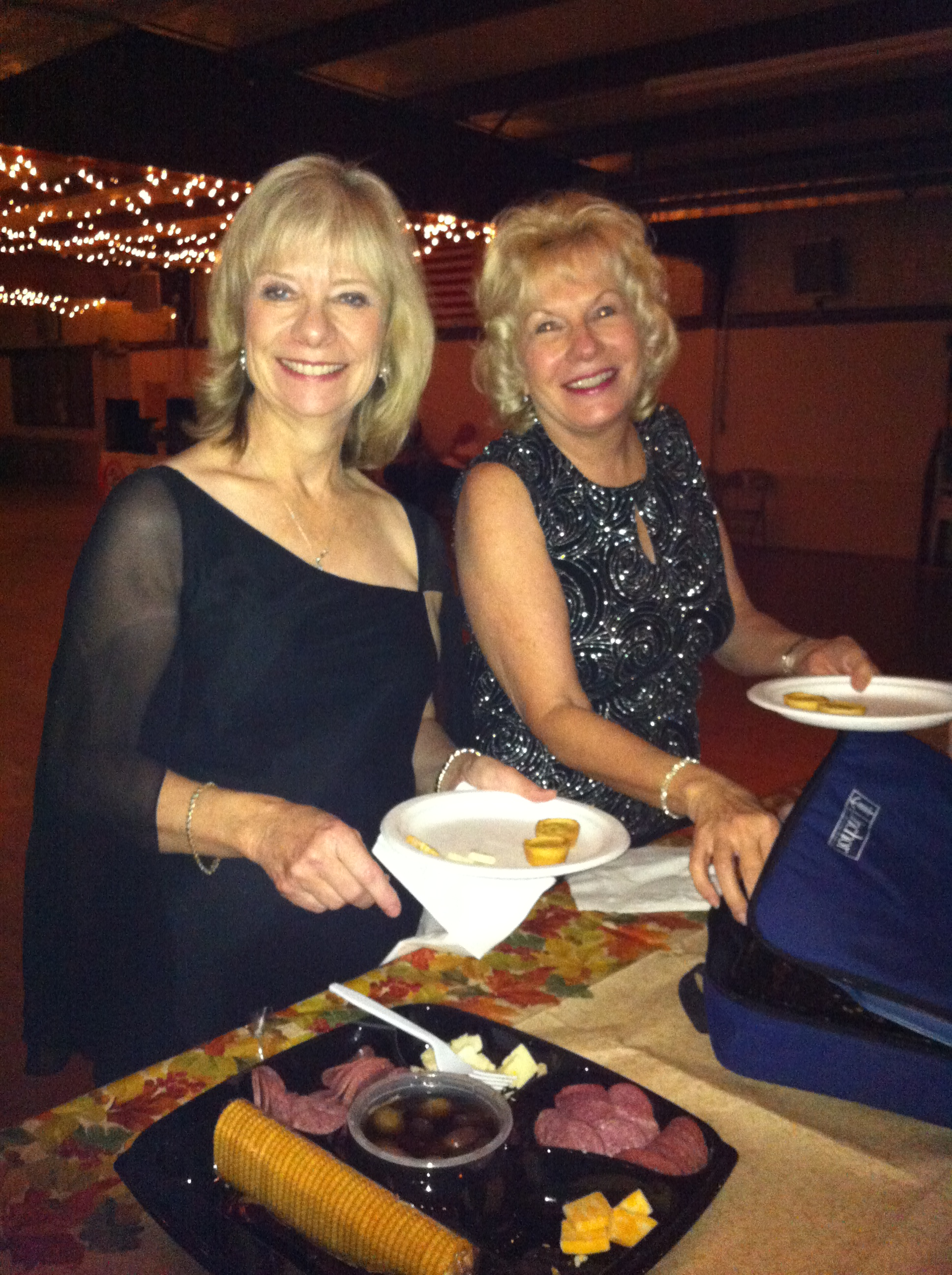 Pam and Susan enjoying the food